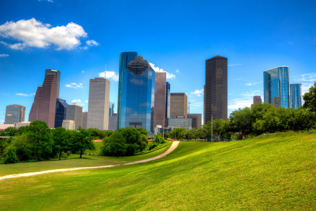 Houston Texas Skyline modern skyscapers and blue sky